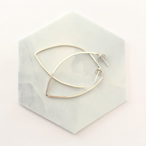Unique handcrafted silver leaf contour hoop earrings Israel Jerusalem