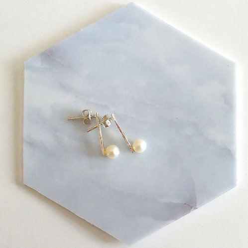 Handcrafted sterling silver minimal textured bar with freshwater pearls earrings studs small