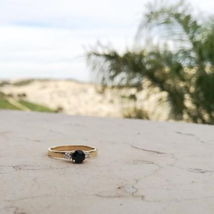 Midnight Sapphire Engagement Ring