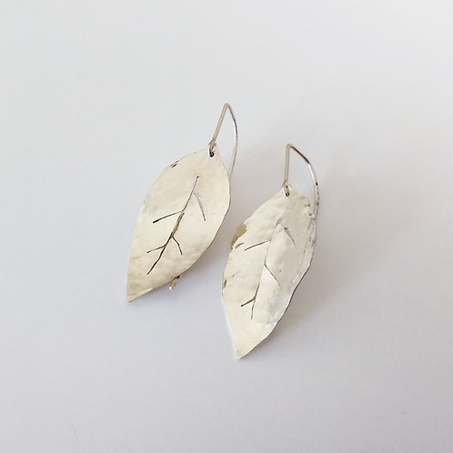 small unique leaf dangle earrings in sterling silver handcrafted in Jerusalem