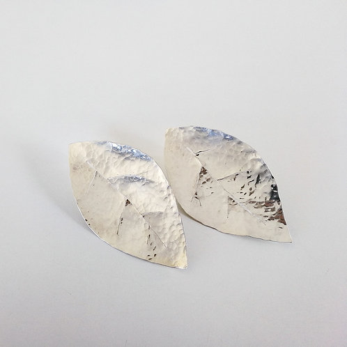 Large textured sterling silver leaf slip back earrings handcrafted unique jewelry from Jerusalem