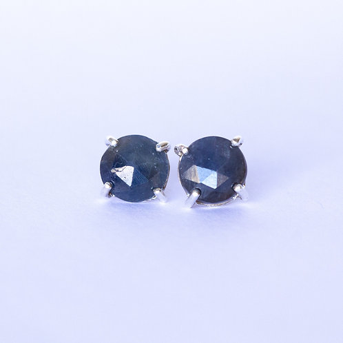 Rose cut blue sapphire studs earrings in sterling silver, unique handcrafted jewelry from Jerusalem, white background
