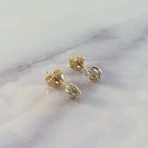 Unique handcrafted raw rough diamond studs Israel Jerusalem