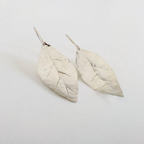 unique handcrafted sterling silver leaf dangle earrings Etz Life