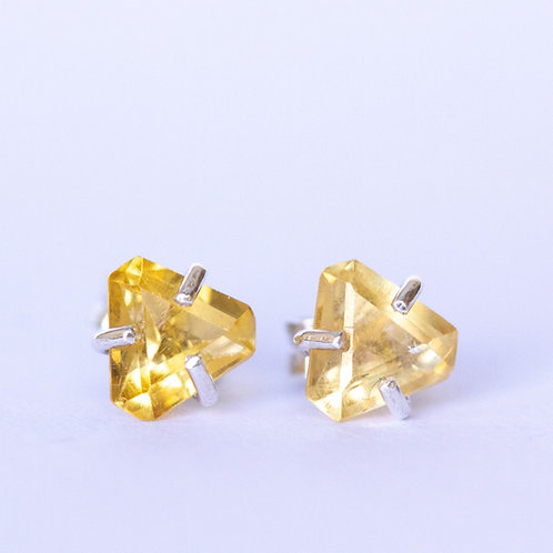 Yellow citrine and sterling silver triangular stud earrings unique handcrafted jewelry from Jerusalem