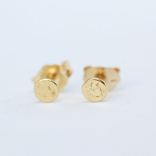 Simple handcrafted gold stud earring, naturally textured crafted in Jerusalem, unique jewelry gifts