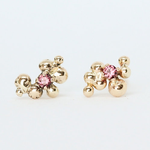 Red Sapphire Cluster Studs