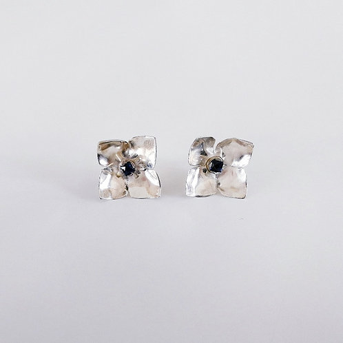 Sterling silver flower studs handcrafted totally unique with sapphire large stud earrings front view
