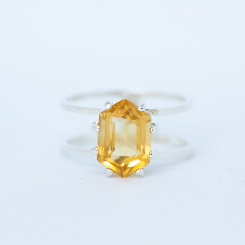 Double Banded Citrine Cocktail Ring