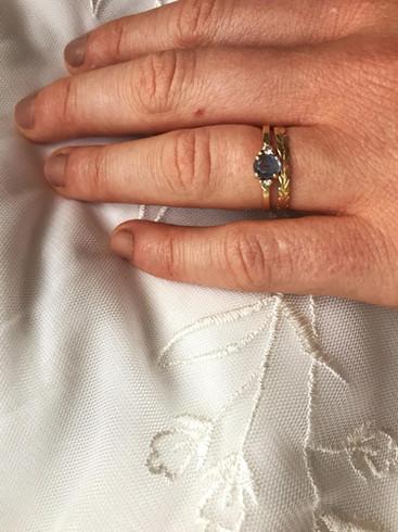 Ceylon Sapphire Engagement and Whimsical Wedding Band