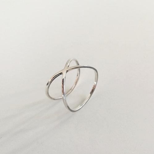 Unique handcrafted sterling silver x ring Israel Jerusalem
