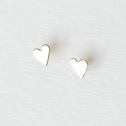 Tiny asymmetric heart stud earrings in 14k gold, unique handcrafted jewelry from Jerusalem girls gifts