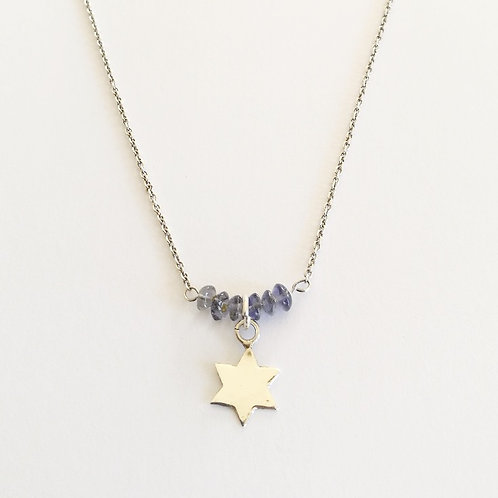 Star Charm Necklace with Raw Sapphires
