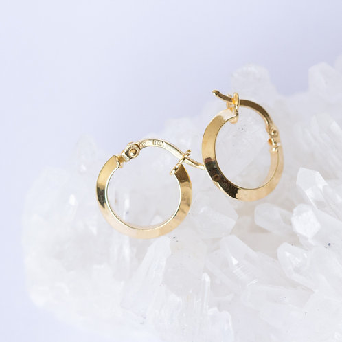 Classic vintage style gold hoop earrings triangular hoop small on a crystal and white background