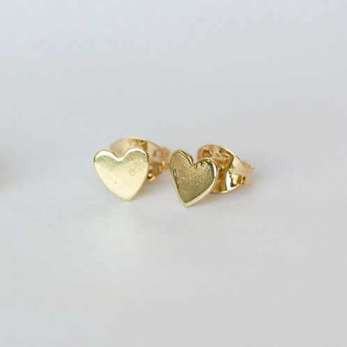 Tiny heart stud earrings in 14k gold, unique handcrafted jewelry from Jerusalem girls gifts