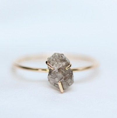Raw Diamond in Rose Gold