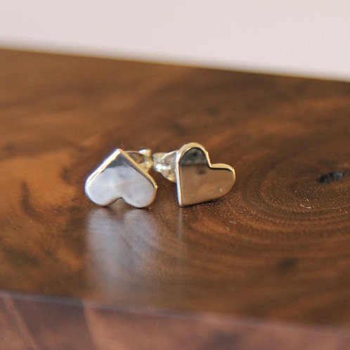 Small silver heart stud earrings handcrafted unique jewelry from Jerusalem