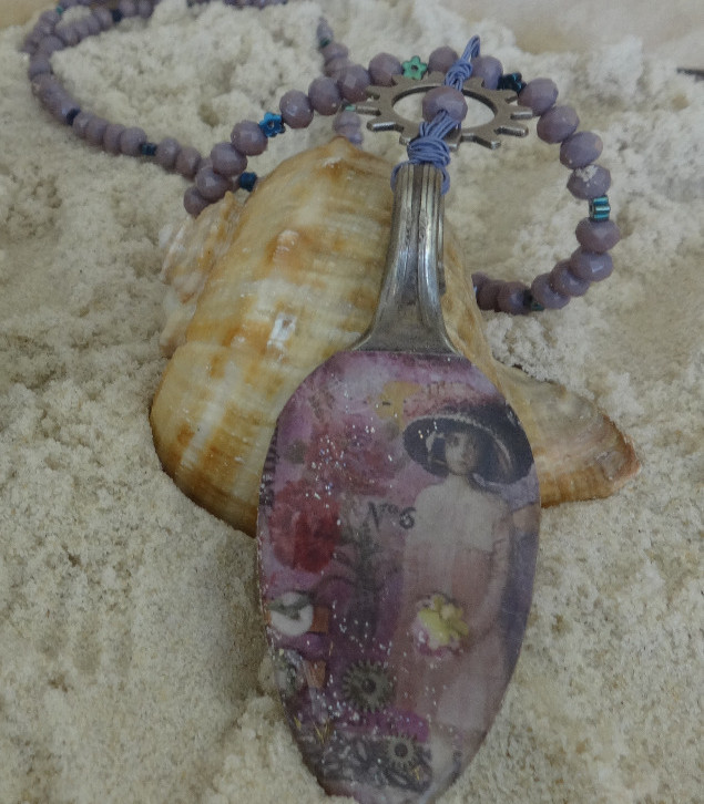 Beaded spoon necklace