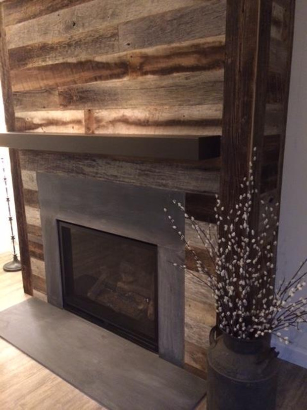 Our Work Fireplace with Metal Mantel and Slate Surround C