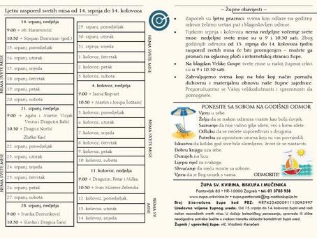 Ljetni raspored svetih misa