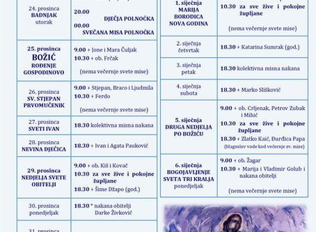 Raspored sv. misa u božićnom vremenu