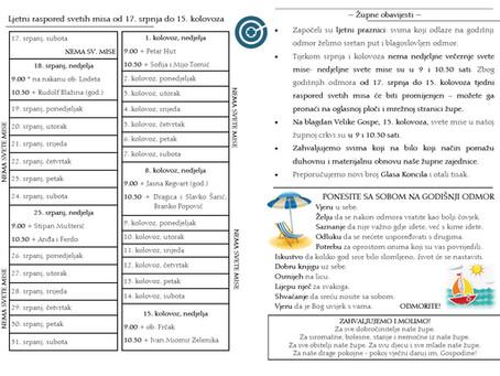 Raspored svetih misa tijekom ljetnih mjeseci srpnja i kolovoza