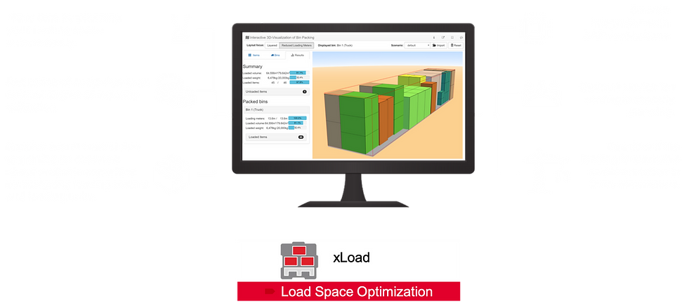 PTV xLoad Server, Load Space Optimization, Cargo Loading Optimization, 3D visualization, Packing Plan 3D Visualization, Consider Sequencing constraints, Automatic delivery based on loading space layout