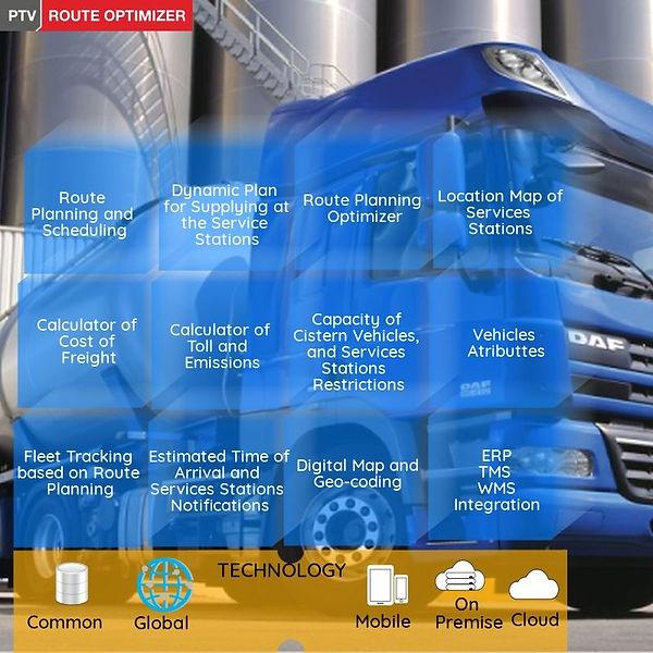 Transport, Transport Software, Transport Planning, Fleet Optimization, Trip Planning, Transport Logistics, Freight Cost, Route Planning, Cargo Freight, ERP Integration, Geocoding, Map, Fleet Tracking Transportation, Route, Planning, Fleet Tracking, Route Execution Monitoring, Delivery Order Planning, Recollection Order Planning, Oder Type Combination,  PTV Route Optimizer, PTV Smartour, Load & Space Optimizer, Vehicle Atributes, SAP Integration, Digital Maps, Freight Cost Calculator, Toll Calculator, Transpot Planning for Manufacturing, PTV Route Optimizer,