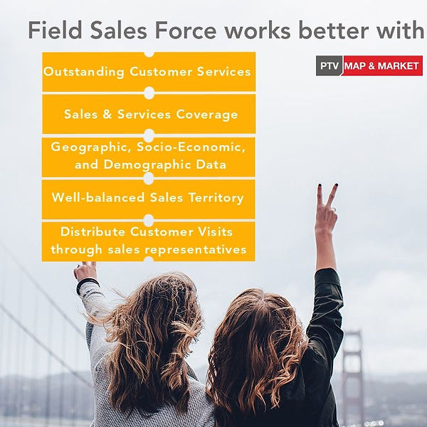 Field Force Planning, Workload distribution, Visit Sequence Optimization, Routes Automation, Real-Time Tracking, Field Force Management, Geographic and Demographic Data, Well-balanced Sales Territory, Distribution of visits through sales representatives, calculates route, Calculates schedules, take restrictions, CRM integration, Mobile App, Appointment Management, Customers Information, Simulation of scenarios, analytics.