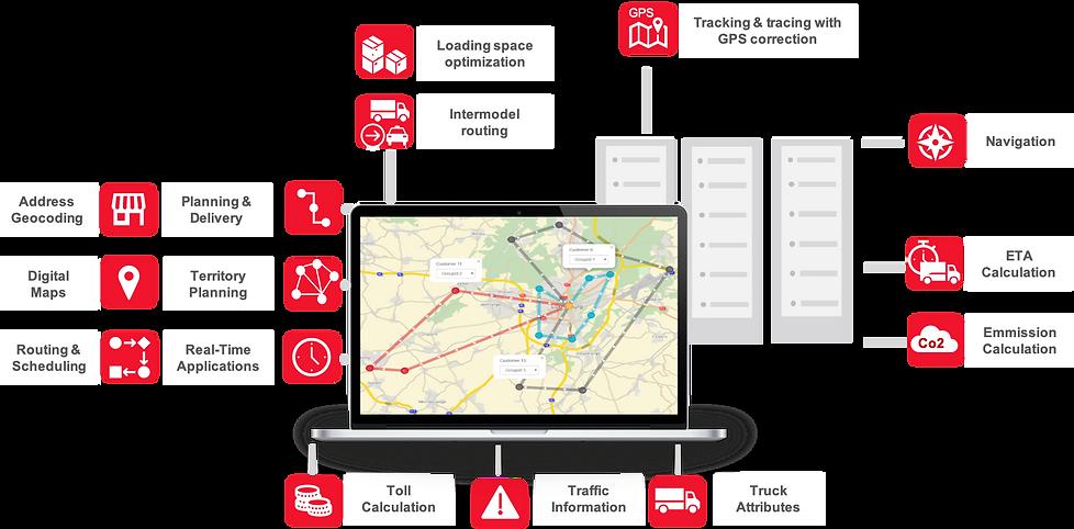 PTV, PTV Group, PTV xServer API for seamlessly integration with your system, Address Geocoding API, Digital Maps API, Ruoting and Geocoding, Planning and Delivery API, Territory Planning API, Real-Time Application API, Toll Calculation API, Traffic Information API, Loading Space Optimization API, Intermodel routing API, Tracking and Tracing GPS API, ETA Calculation API, Estimated Time of Arrival API, Emmission Calculation API, Truck Attributes API