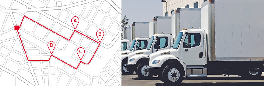 Route Planning, Routes for Fleet, Traffic Patterns, Route Optimization, Trip Optimization, Factor time restrictions, Live Dispatching, Truck Attributes, Restrictions into Route Planning, Route+ERP, Routing+ERP, Route+TMS