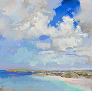 Pentire and Daymer 12x12 oil and acrylic on panel SOLD