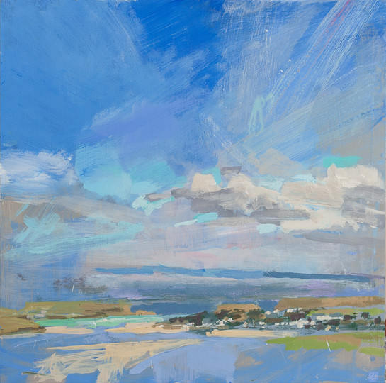 """Camel Estuary from a Hill no.8  12x12"""" acrylic on panel £570 Padstow Gallery"""