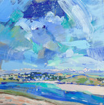 """Daymer Bay and Brea Hill  12x12"""" acrylic on panel £570"""