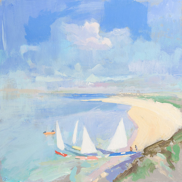 "Dinghys at Rock  12x12"" acrylic on panel £570 Padstow Gallery"