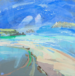 Stepper Point and Pentire Head from a Hill  £570 Padstow Gallery