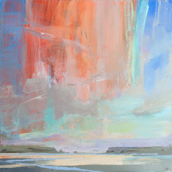 "Astraeus (Estuary Sunset )  12x12"" acrylic on panel £570 Padstow Gallery"