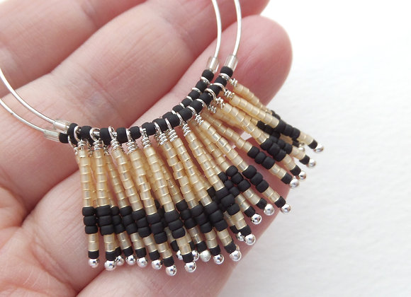 Black & Beige Earrings, Fringed Hoop Silver Earrings.