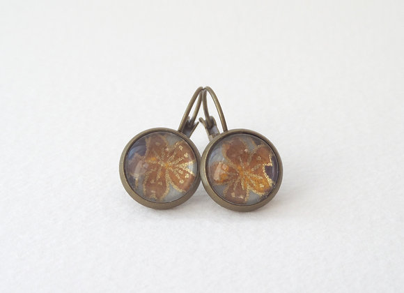 Japanese Flower Earrings, Antique Bronze Dangle Earrings