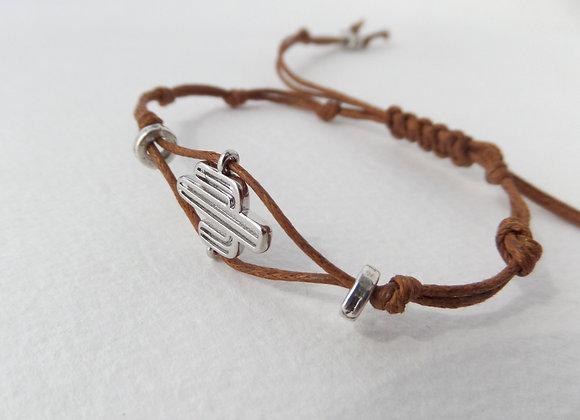 Silver Cactus Bracelet, Brown Cotton Bracelet, Casual Cord Bracelet
