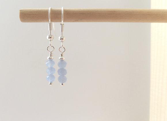 Blue Opal Crystal Earrings, Translucent Pastel Blue Dainty Silver Earrings