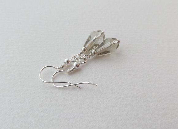 Khaki Teardrop Glass Earrings, Peardrop Dangle Silver Earrings