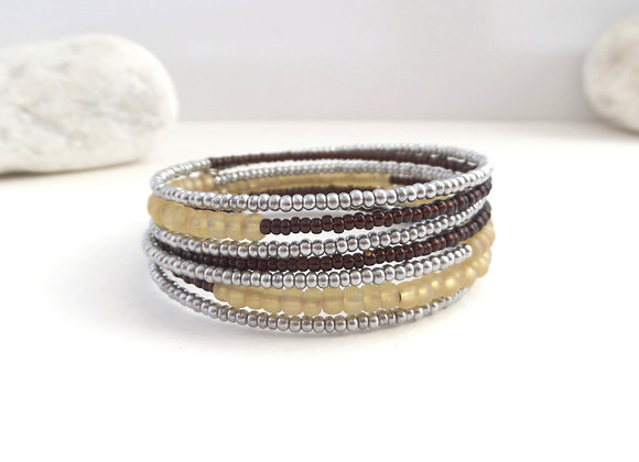 Silver Grey, Buttermilk and Brown Bangle