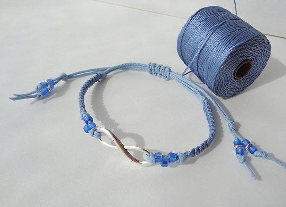 Silver Infinity Symbol Bracelet, Macramé Cord Bracelet, Adjustable