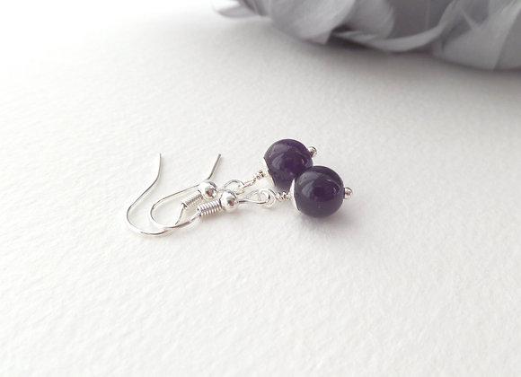 Purple Amethyst Earrings, Drop Dangle Silver Earrings