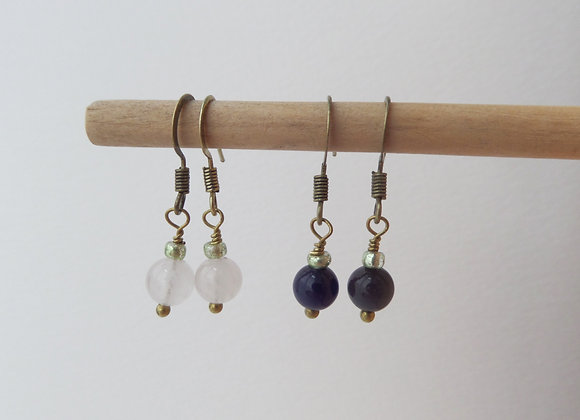 Bronze Earrings, Stone and Brass Dangle Earrings