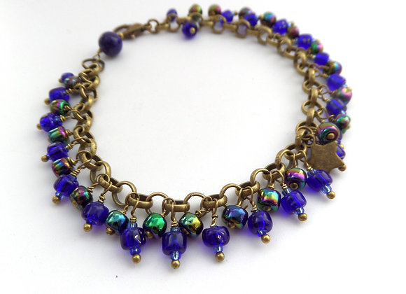 Cobalt Blue Bracelet, Antique Bronze Beaded Clasp Bracelet/Set