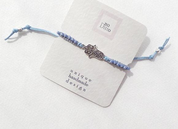 Silver Hamsa Hand Bracelet, Blue Cord Macrame Bracelet, Tibetan Silver