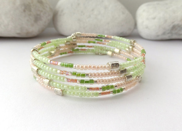 Lime and Peach Bracelet, Spring Memory Bangle