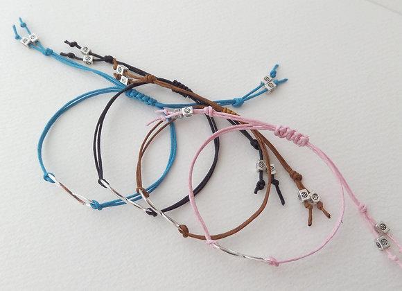 Infinity Symbol Bracelet, Silver and Cotton Cord Bracelet, Adjustable